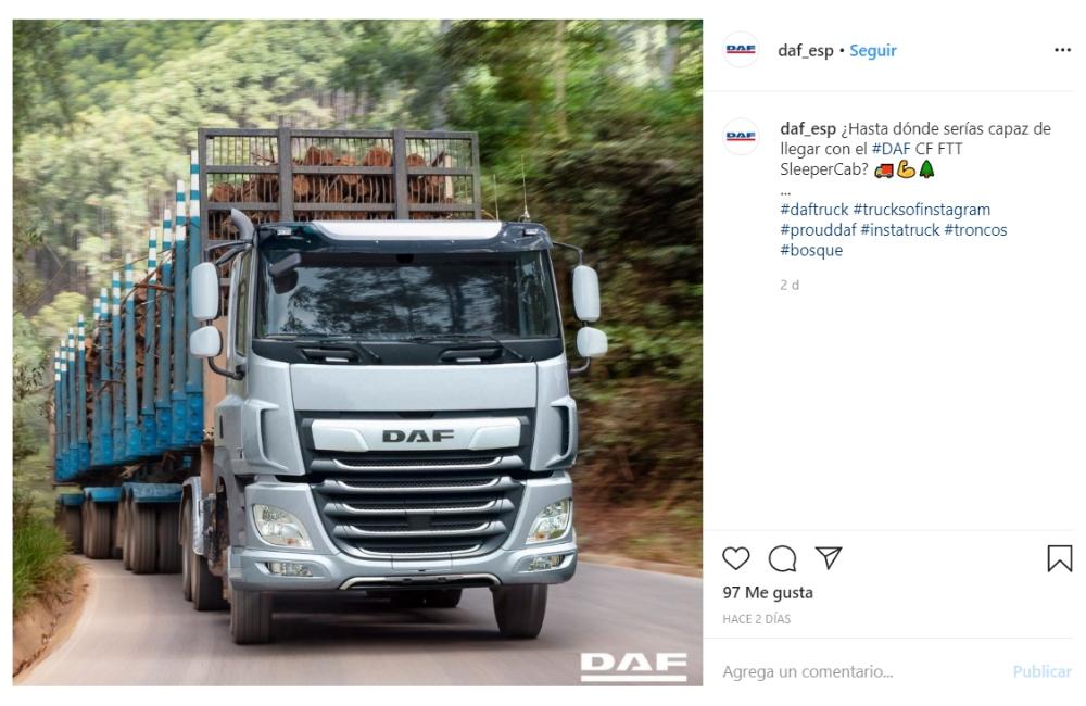 Instagram DAF con una imagen de un camión transportando madera - empresa tradicional