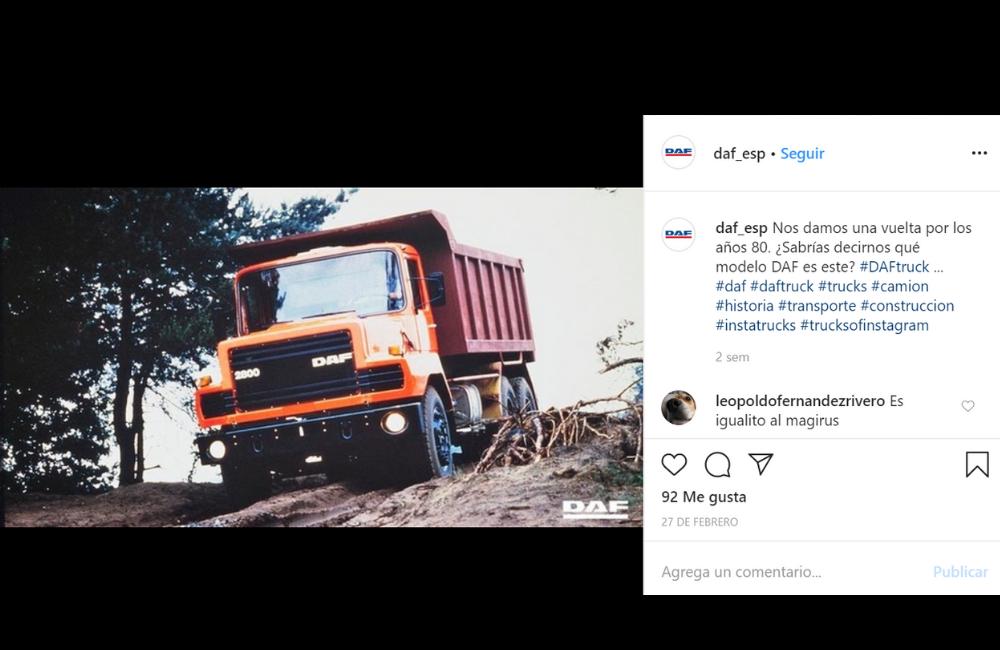 Instagram DAF con una imagen de un modelo de camión antiguo - empresa tradicional