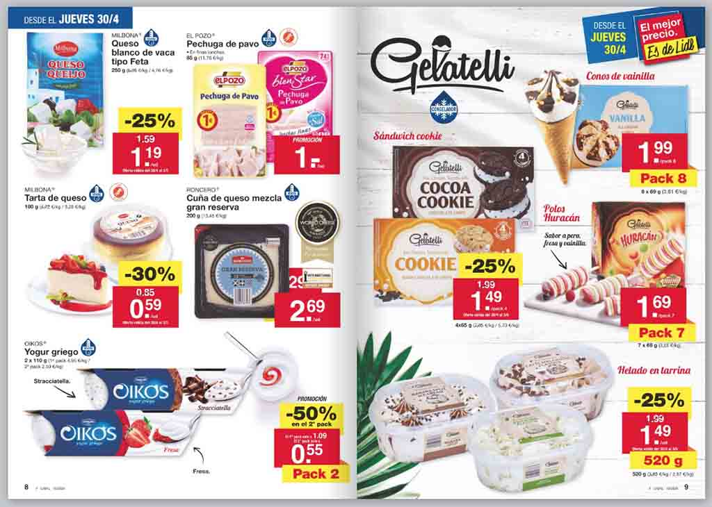 Extracto del folleto en papel con ofertas del supermercado Lidl
