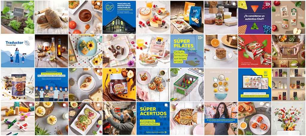 Mosaico con variedad de publicaciones de la cuenta de Instagram de Lidl España