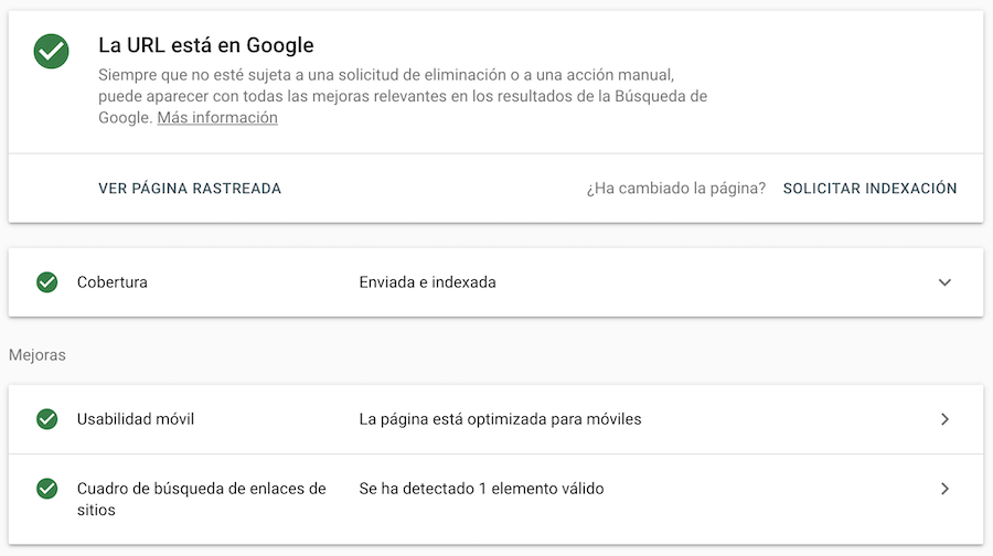 Herramienta de inspección de URL en Google Search Console