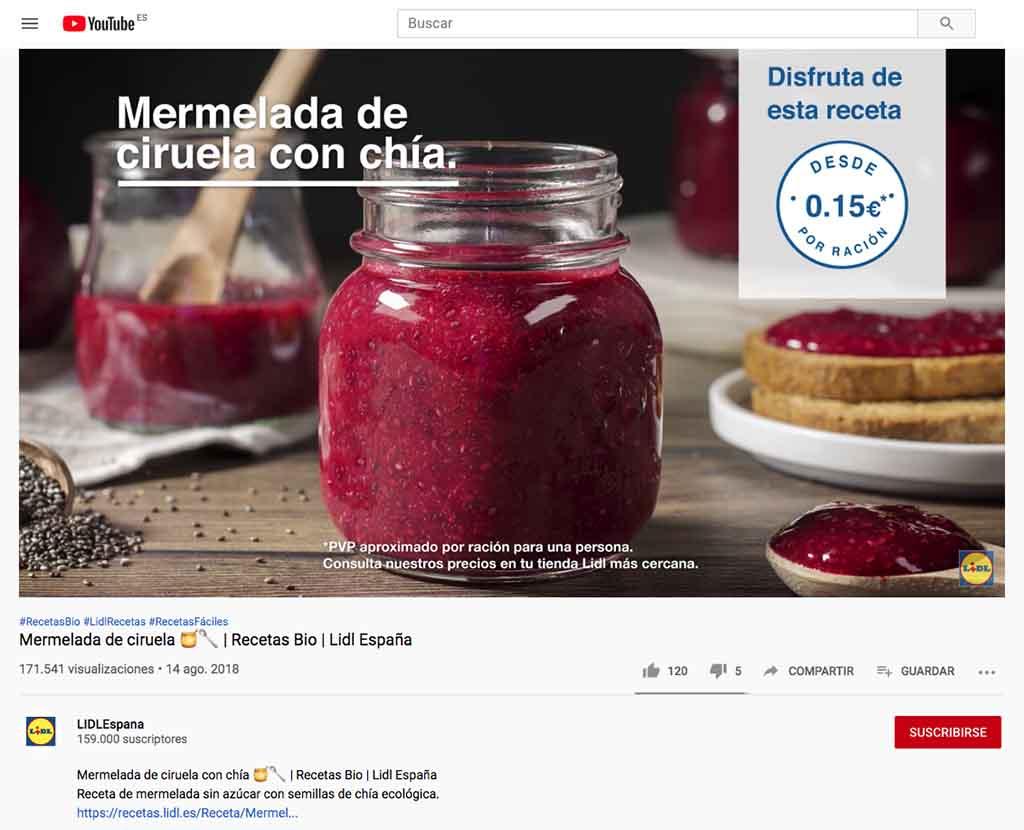 Pantallazo del canal de Youtube de Lidl con una receta de mermelada ecológica